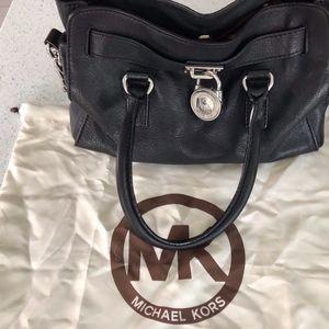 Michael Kors black leather shoulder handbag